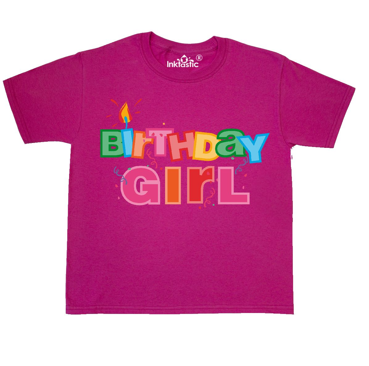 INKtastic Birthday Girl Letters Youth T-shirt Party Colorful Candle ...