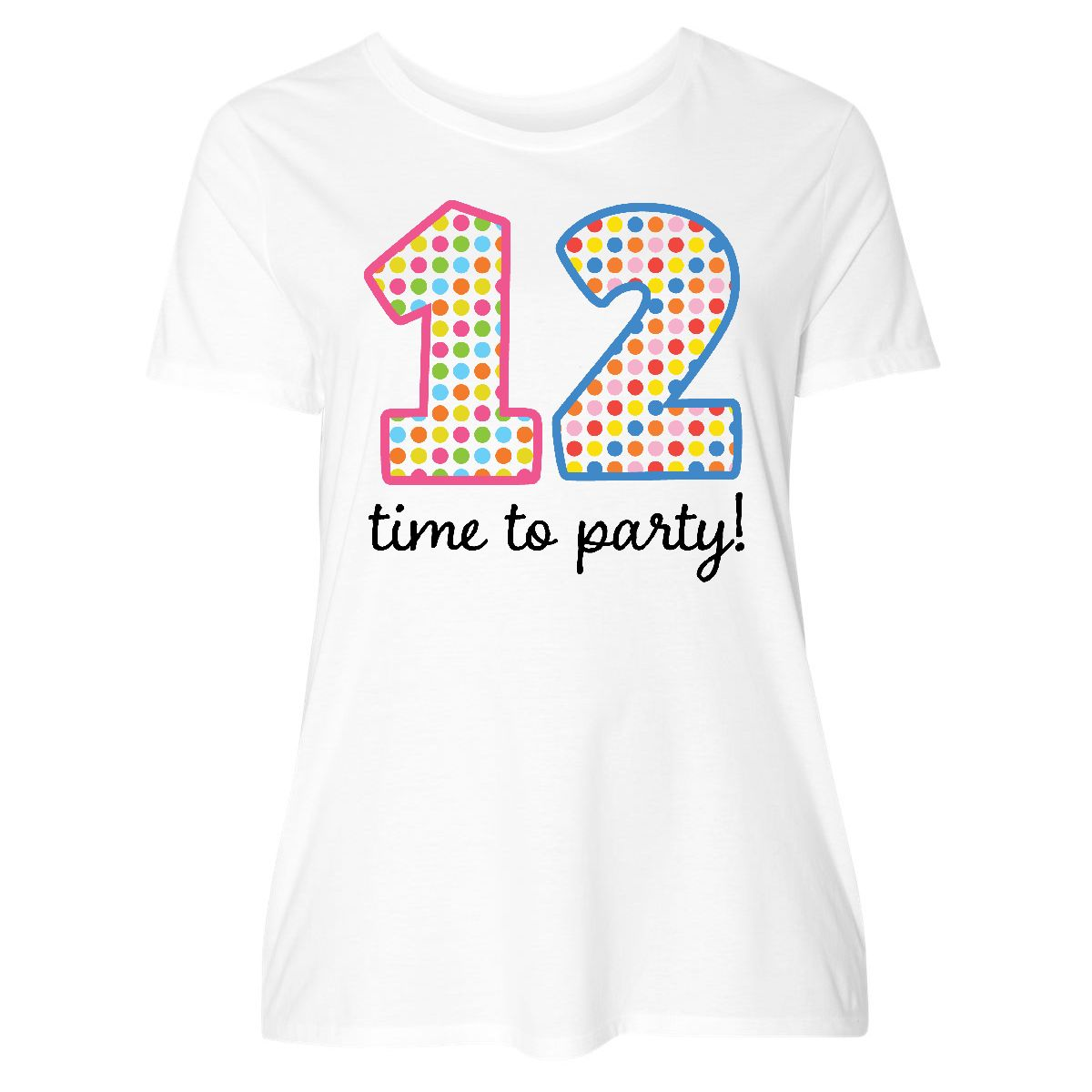 12th Birthday Party Womens Plus Size T Shirt White 1 14 16