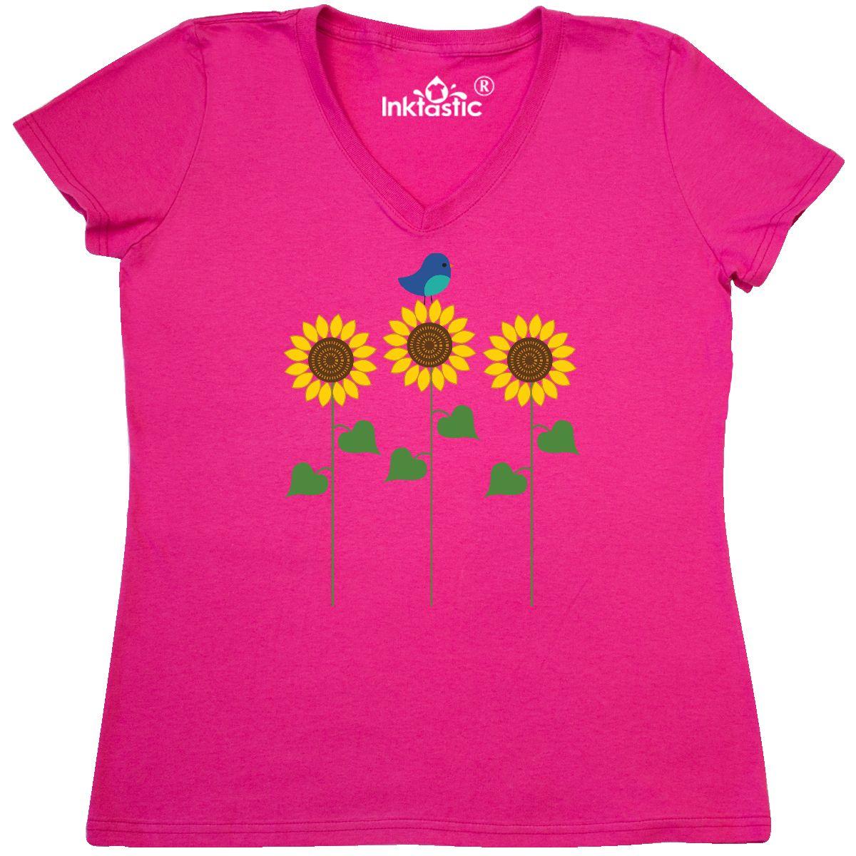 Inktastic-Sunflower-Garden-And-Bird-Women-039-s-V-Neck-T-Shirt-Gardening-Summer-Cute