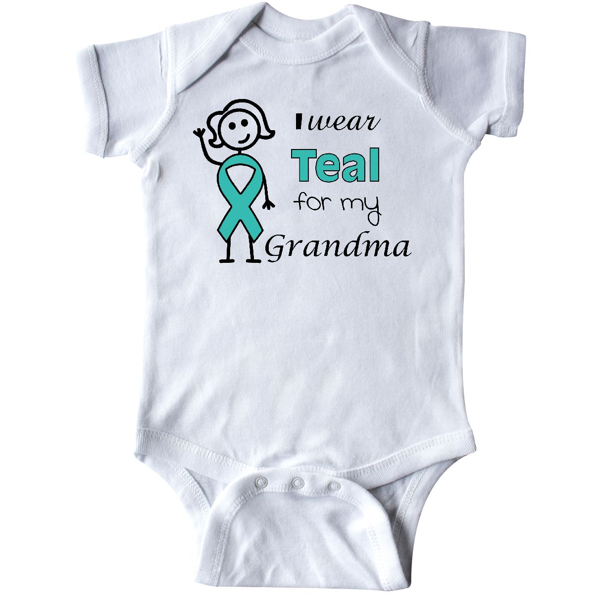 inktastic I Wear Teal for My Mom with Teal Ribbon Long Sleeve Creeper