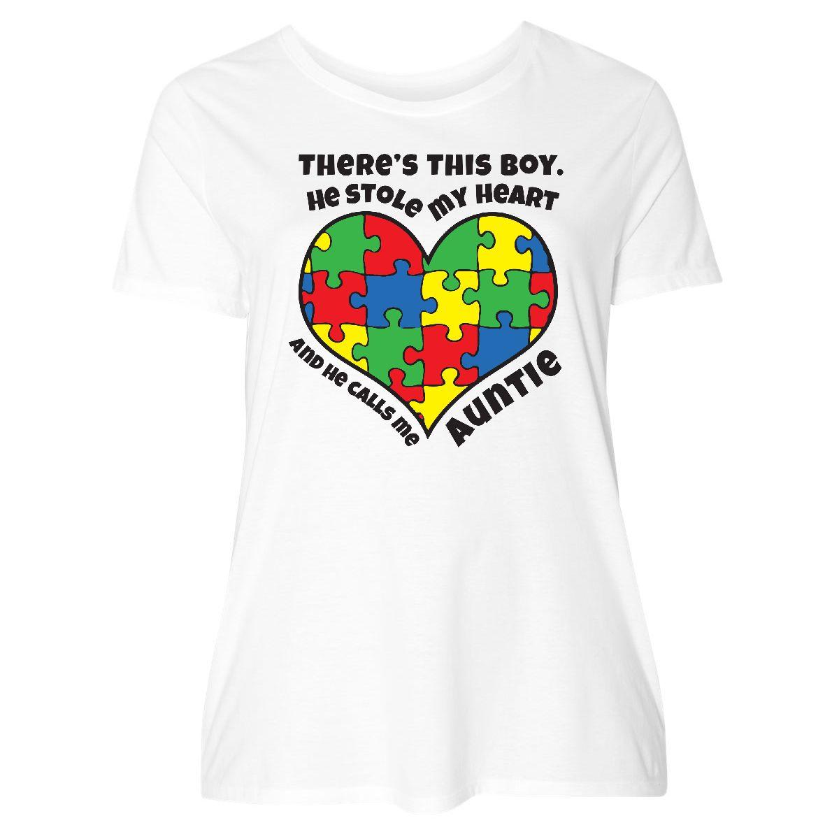 bd562f12fd4 Details about Inktastic Auntie Of Autistic Nephew Women s Plus Size T-Shirt  Autism Ribbon Just