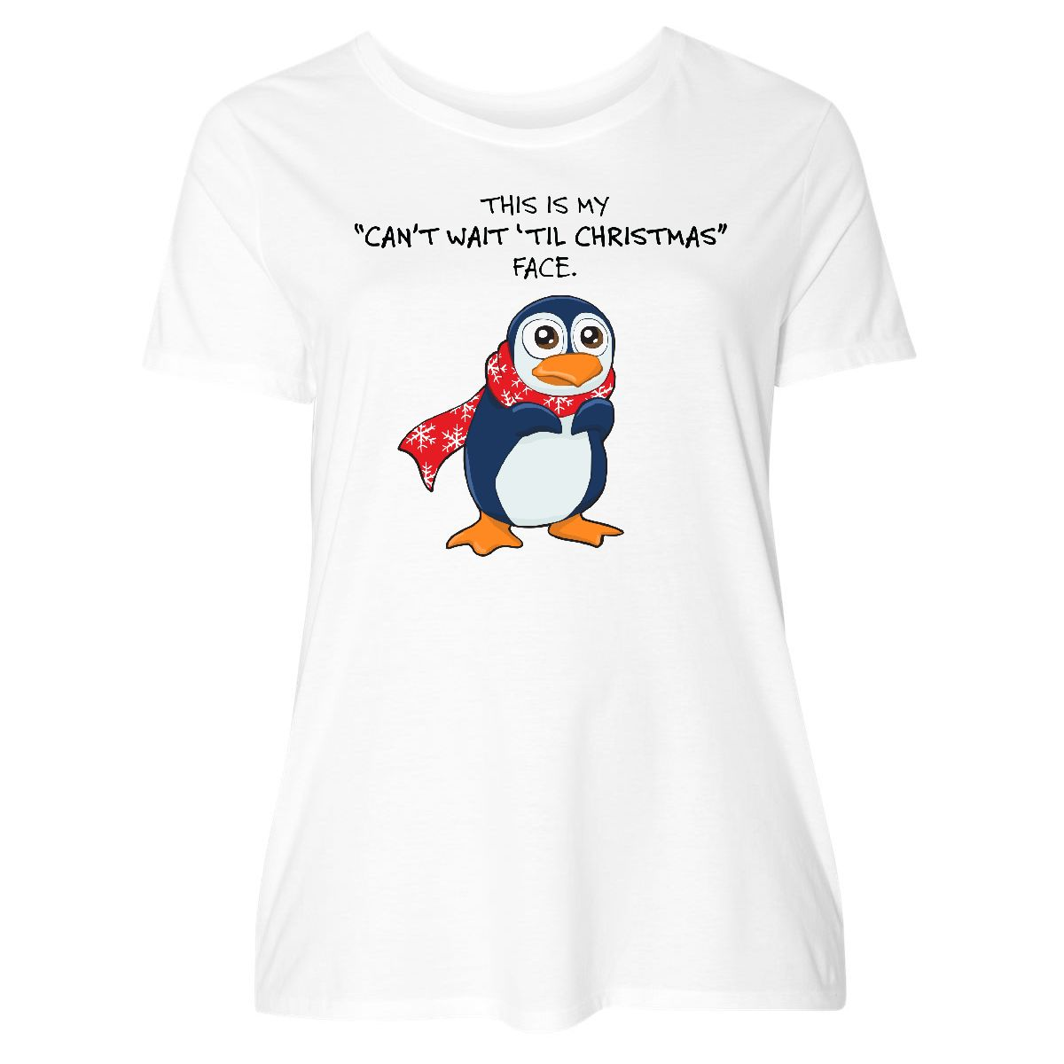 bc8b889f484 Inktastic Christmas Face-penguin Women s Plus Size T-Shirt Penguin ...