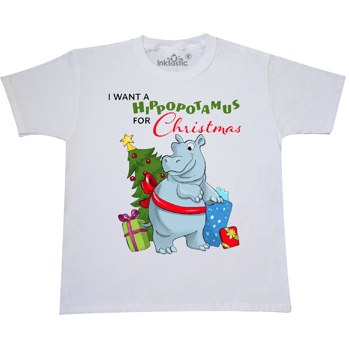 INKtastic I Want a Hippopotamus for Christmas Youth T-shirt Cute ...