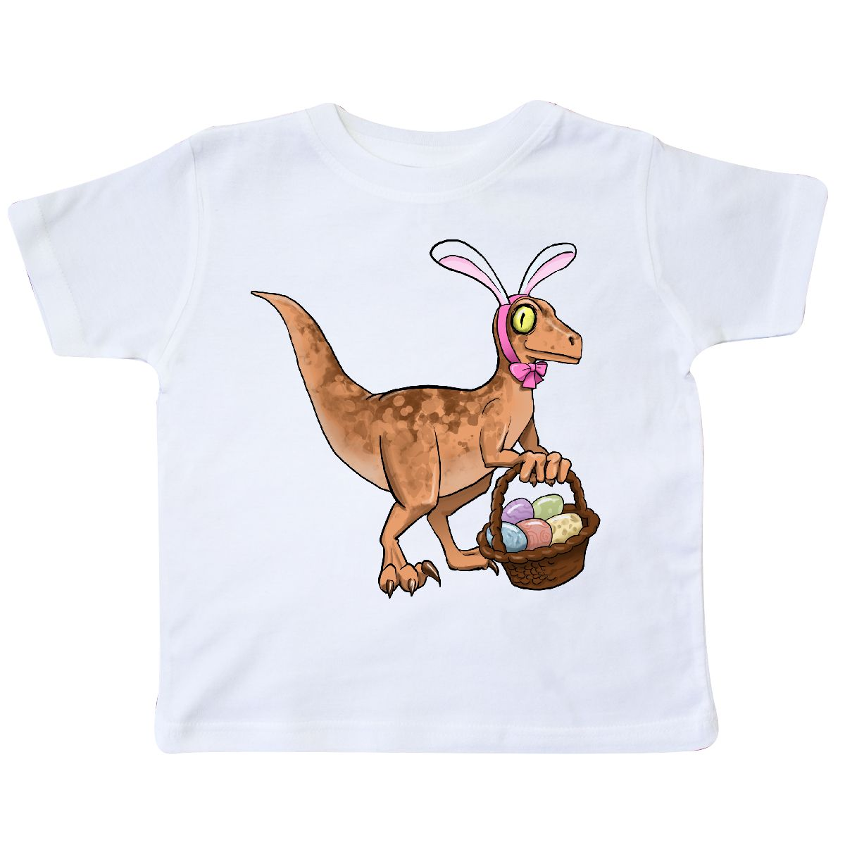 90e5ec0e4 Inktastic Easter Velociraptor With Bunny Ears Toddler T-Shirt Kids ...