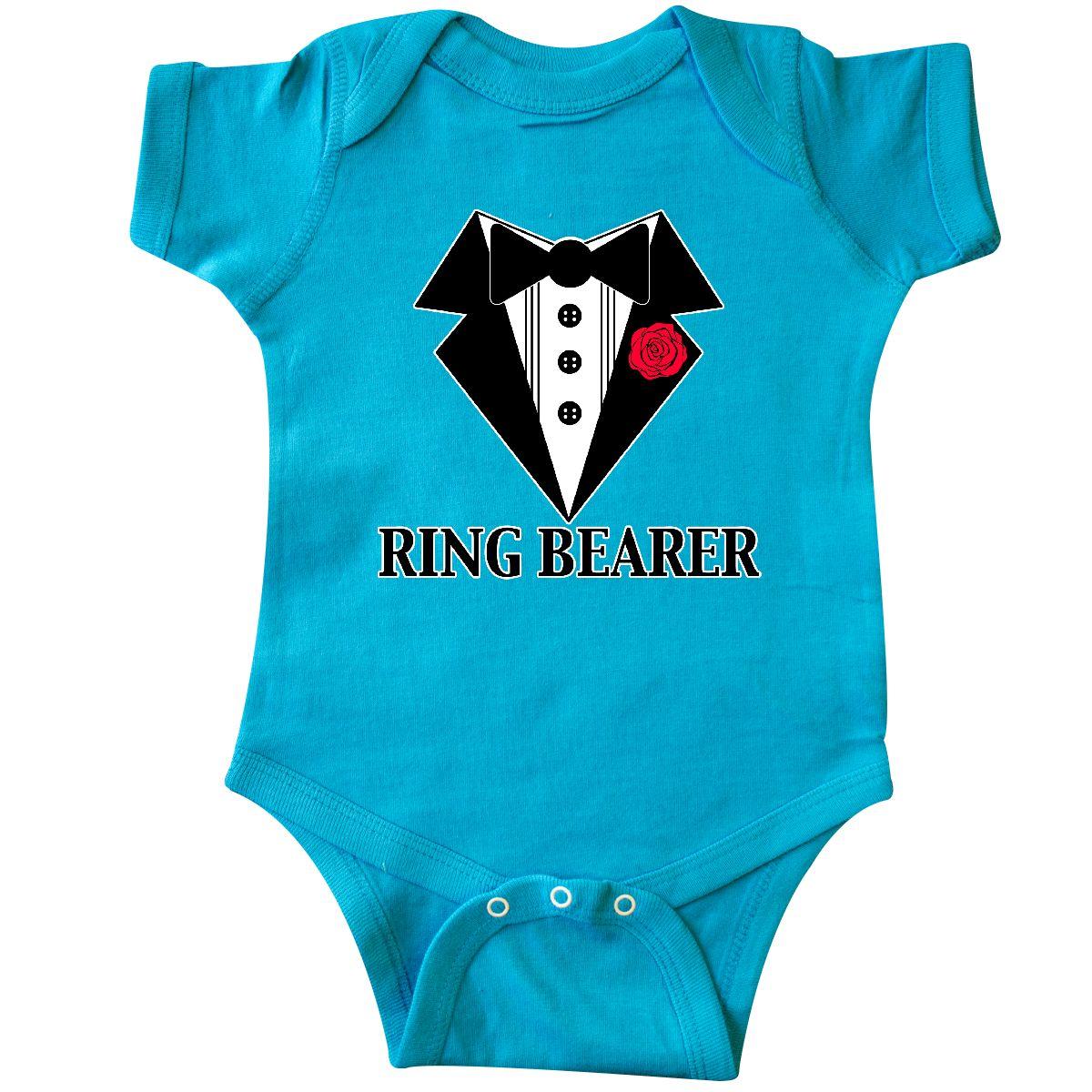 Inktastic Tuxedo Ring Bearer Infant Creeper Wedding Rose Flower ...