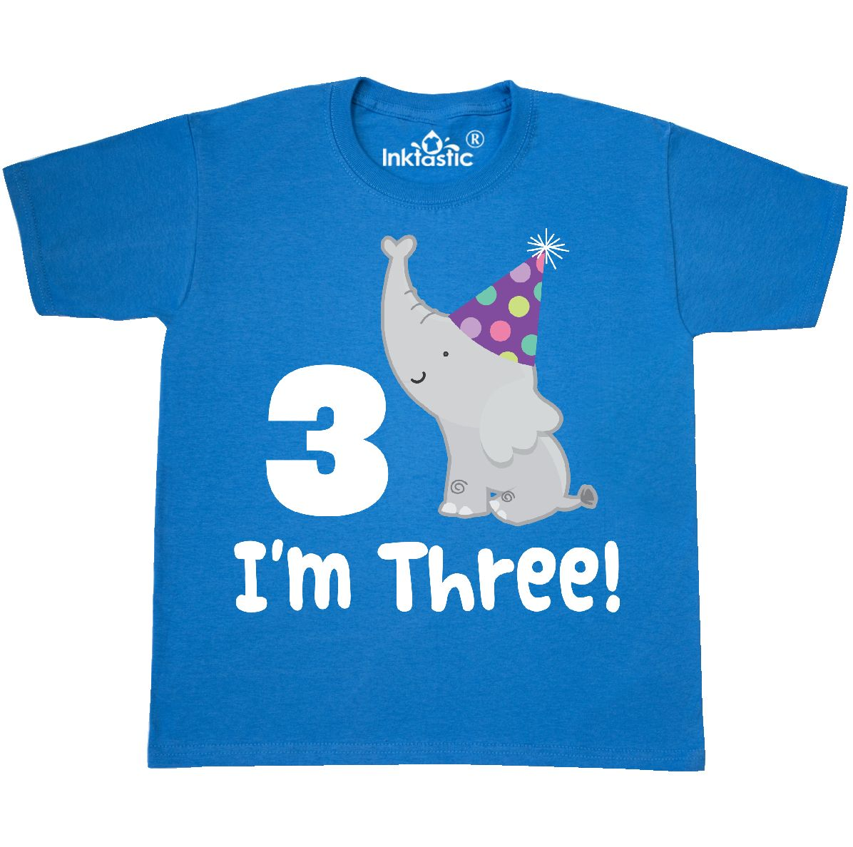 c332f398 3rd Birthday Zoo Elephant Childs Youth T-Shirt Pacific Blue Youth Medium  (10-12)