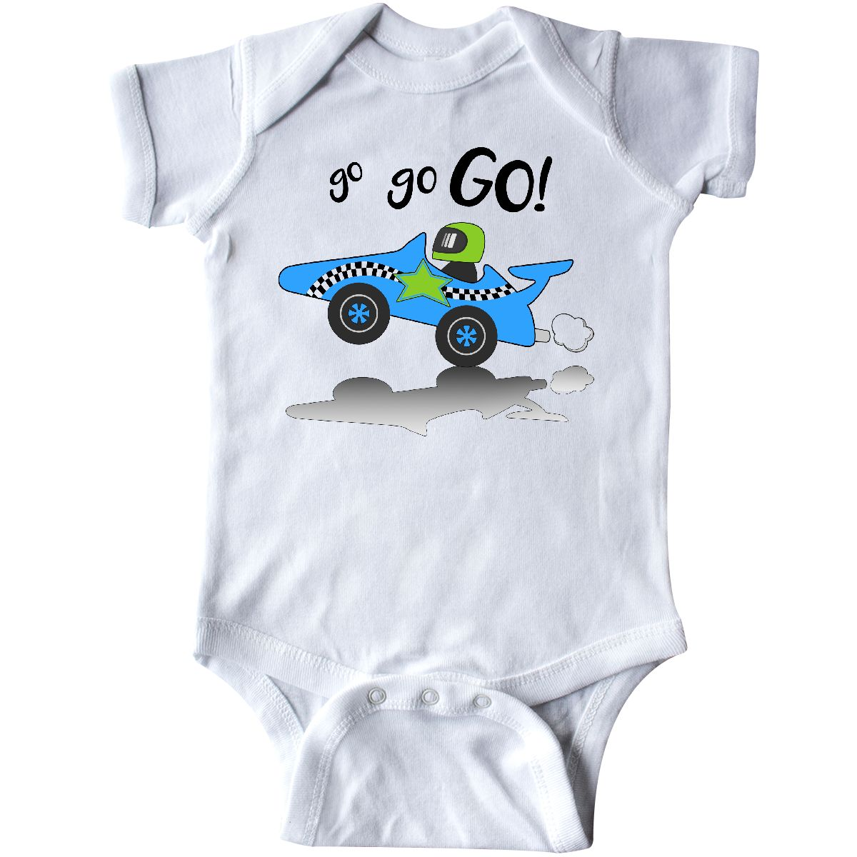 908df8c4ffc4 Inktastic Go Go Go! Blue Racing Car Infant Bodysuit Cars Kids Race ...