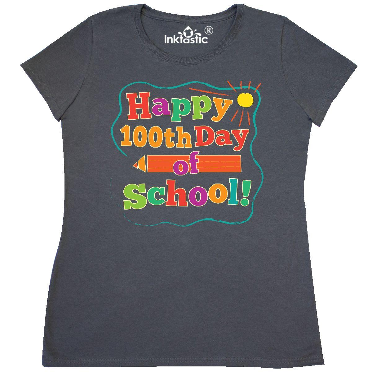 7006d4fe396 Inktastic Happy 100th Day Of School Women s T-Shirt 100 Days Teacher ...