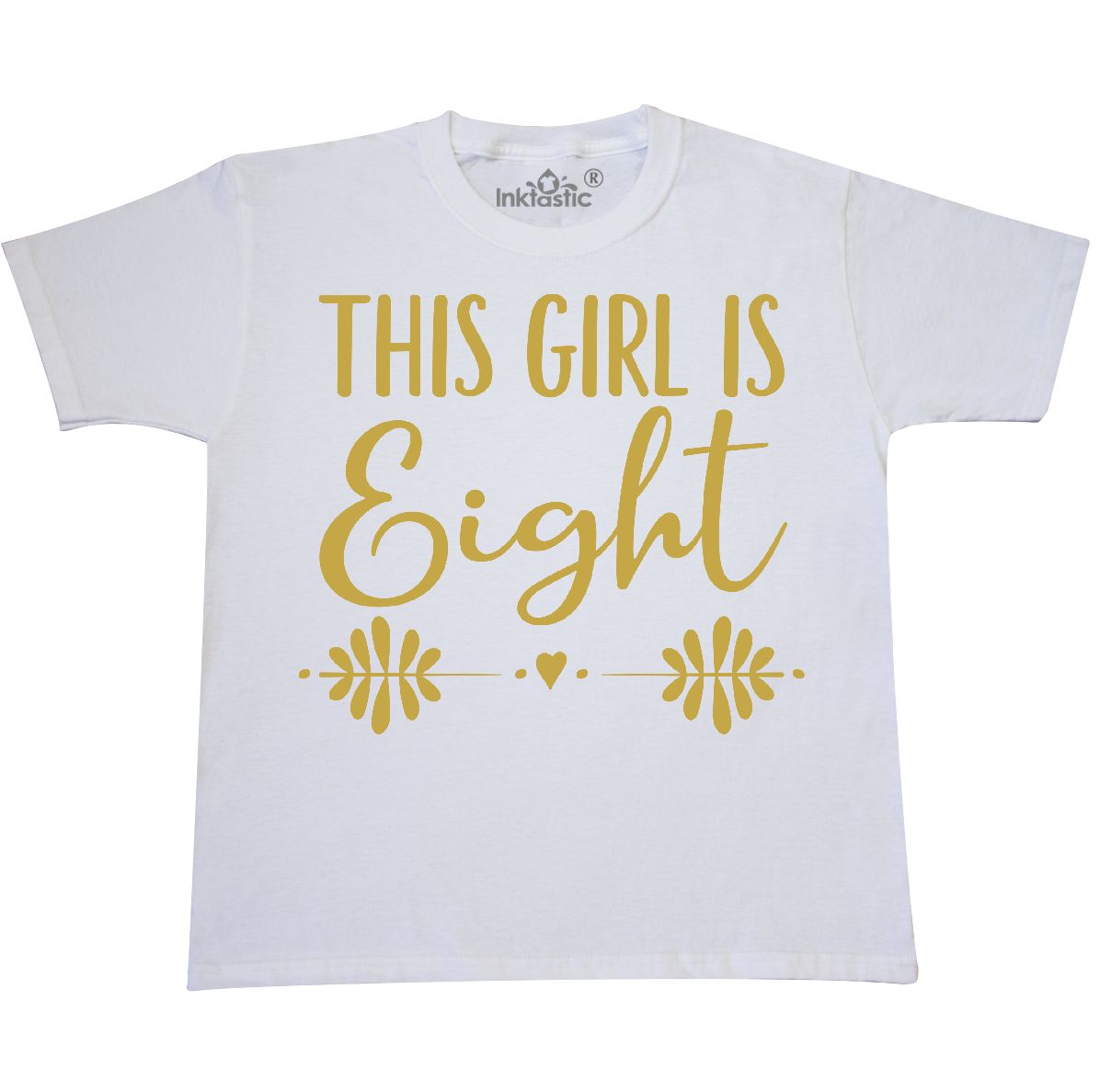 8th Birthday Gold Lettering Girls 8 Year Old Youth T Shirt White X Large 18 20