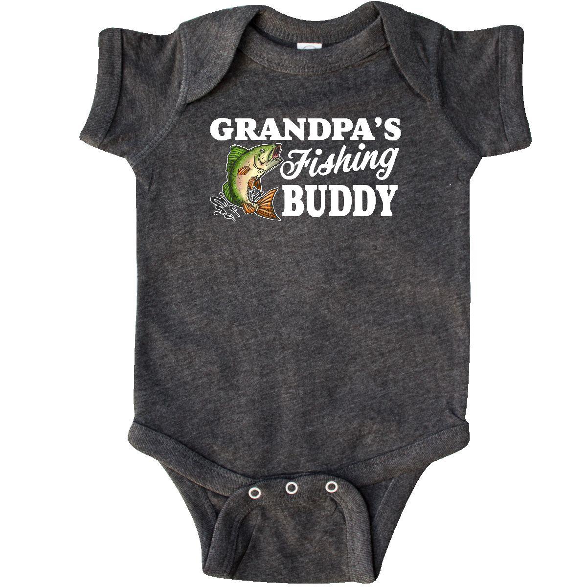 9e4ed636cff0c Inktastic Grandpa's Fishing Buddy With White Text Infant Creeper ...
