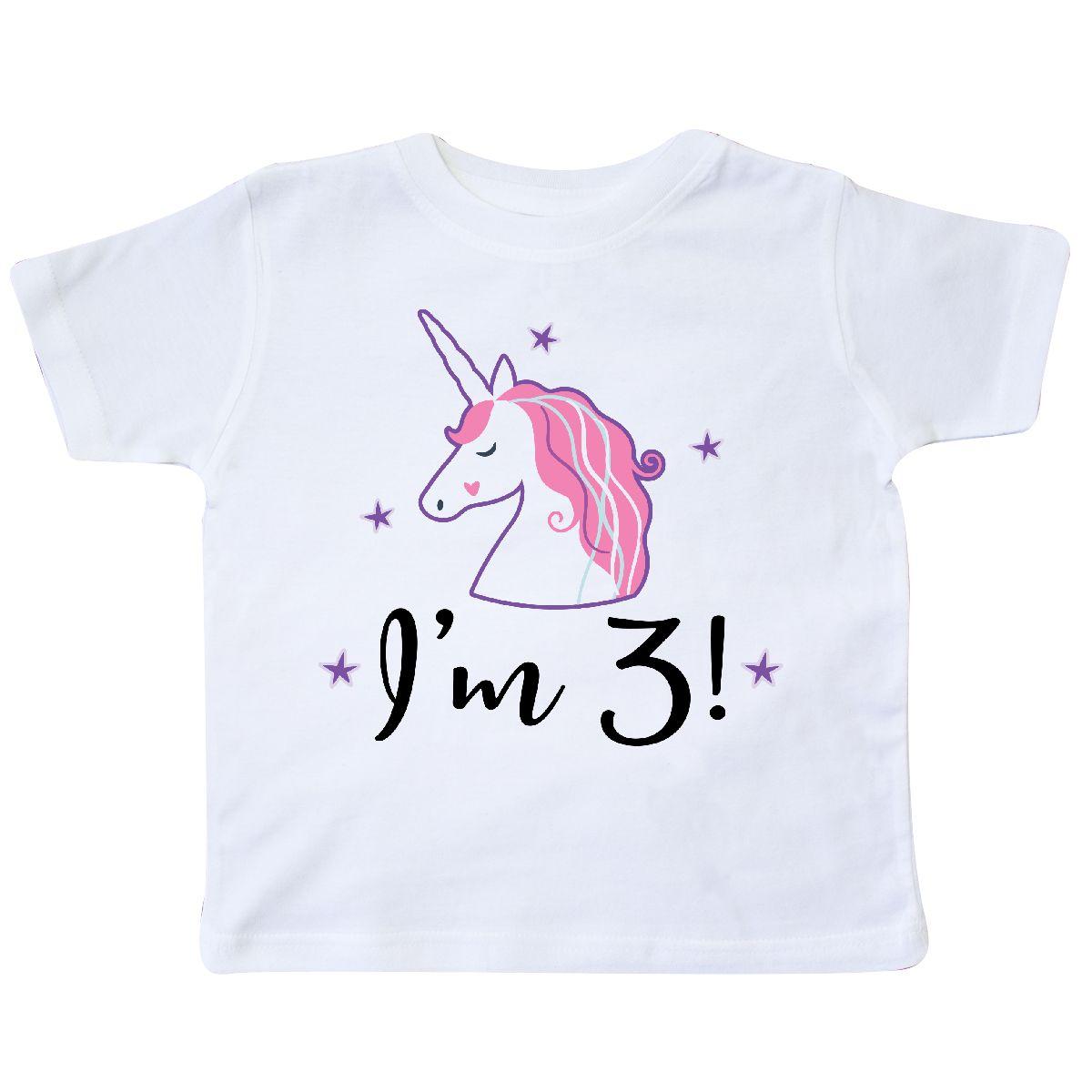 Third Birthday Cute Unicorn Toddler T Shirt White 2T