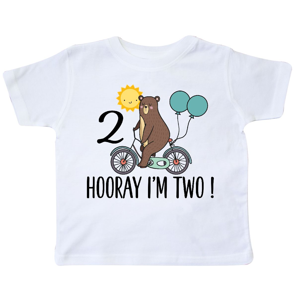 2nd Birthday Bear On Bicycle 2 Year Old Toddler T Shirt White 2T