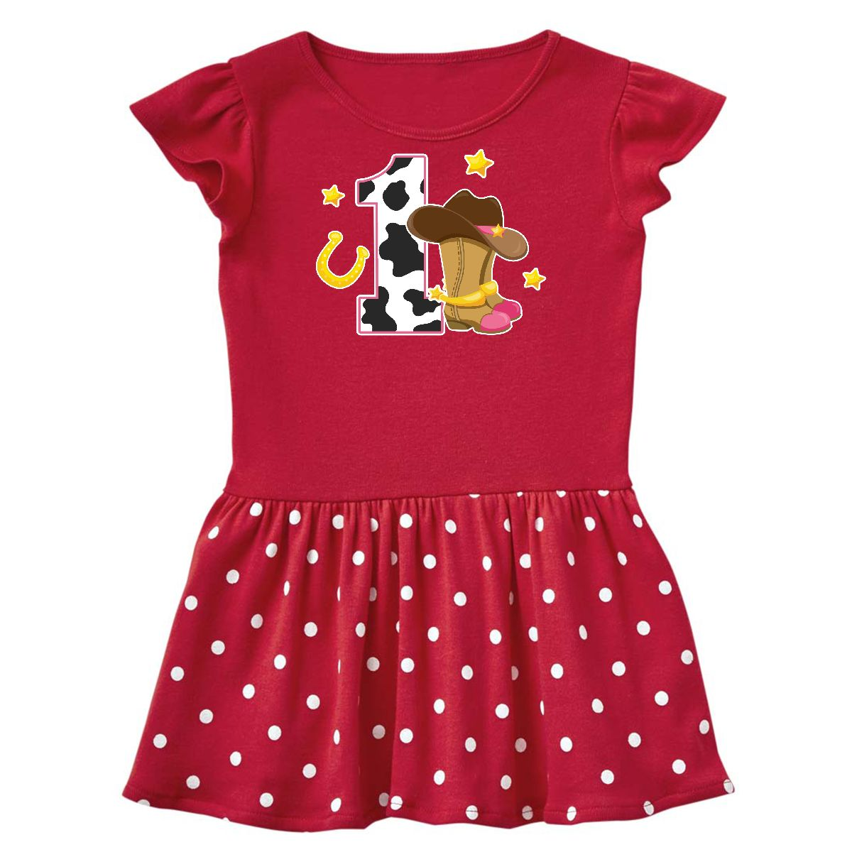 Cowgirl Birthday One Year Old With Boots Infant Dress Red And Polka Dot 6 Months