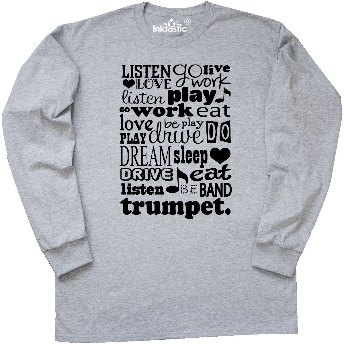 7aa3c43b Trumpet Marching Band Gift Long Sleeve T-Shirt Athletic Heather Small