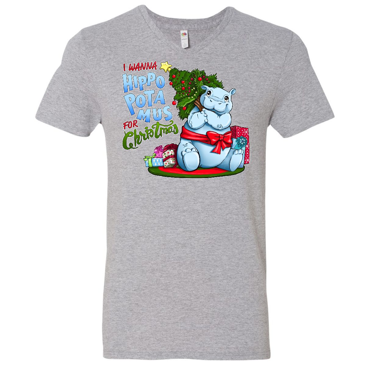 Inktastic I Wanna Hippopotamus For Christmas- Cute Hippo Men\'s V ...
