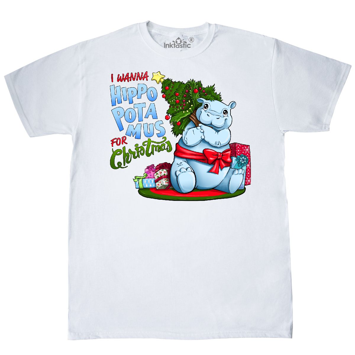 Inktastic I Wanna Hippopotamus For Christmas- Cute Hippo T-Shirt ...