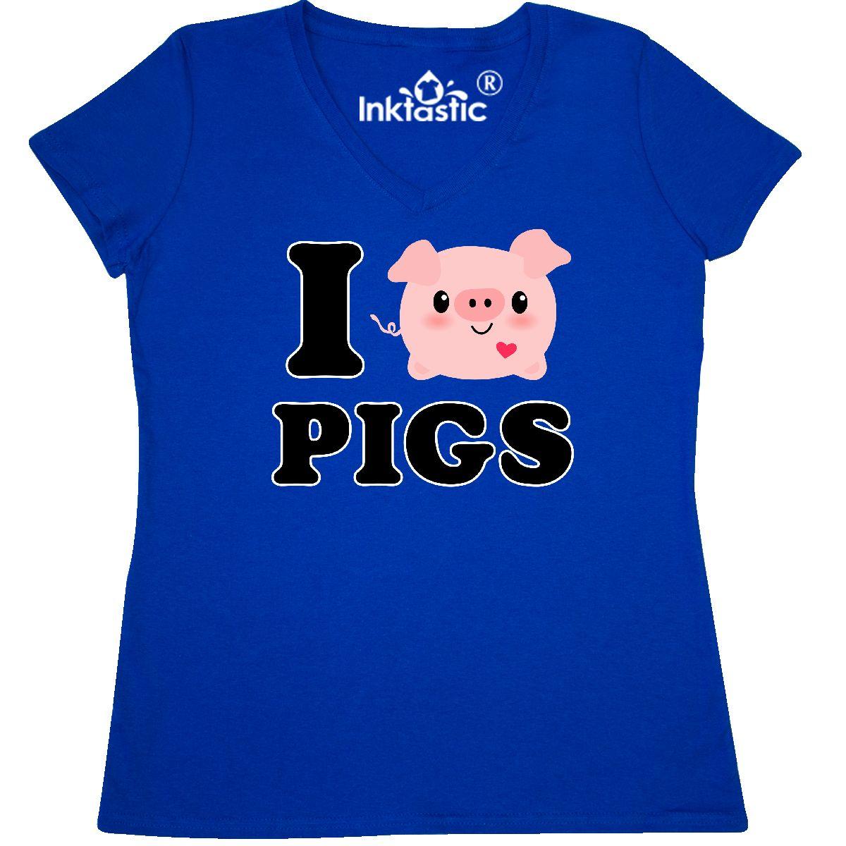 Inktastic-I-Love-Pigs-Women-039-s-V-Neck-T-Shirt-Heart-Kawaii-Pig-Piggy-Piglet-Chibi