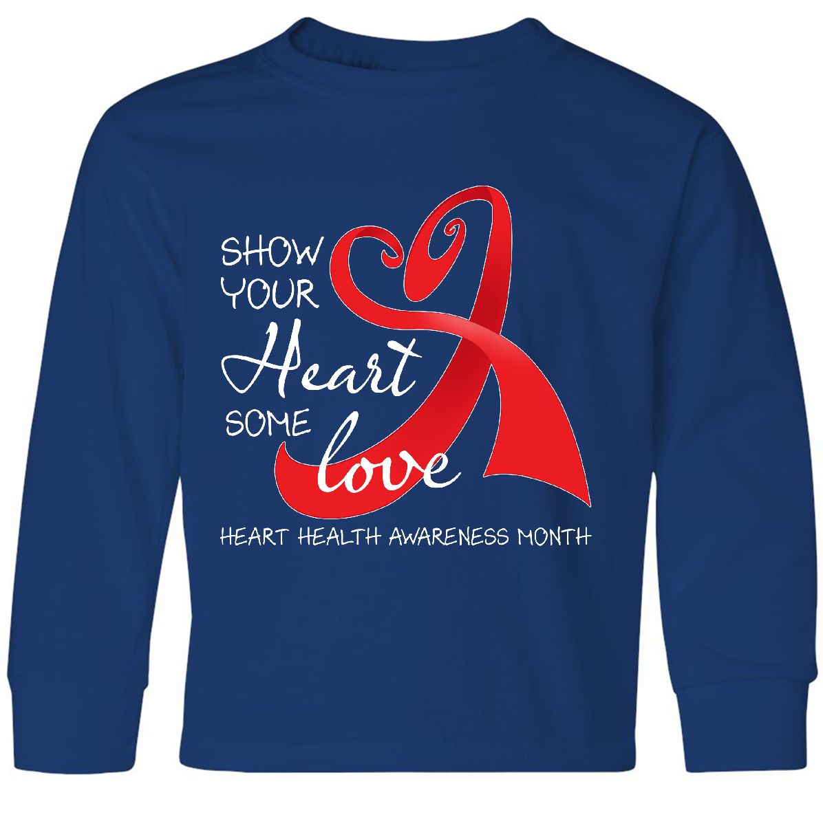 Heart Health Awareness Long Sleeve T-Shirt Inktastic Show Your Heart Some Love
