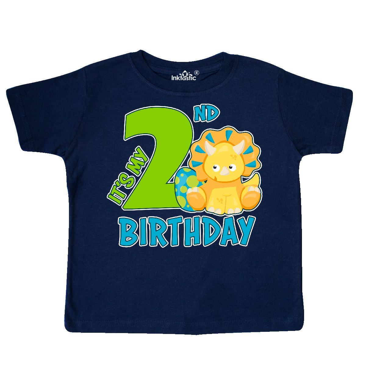Its My 2nd Birthday With Dinosaur Toddler T Shirt Navy Blue 3T