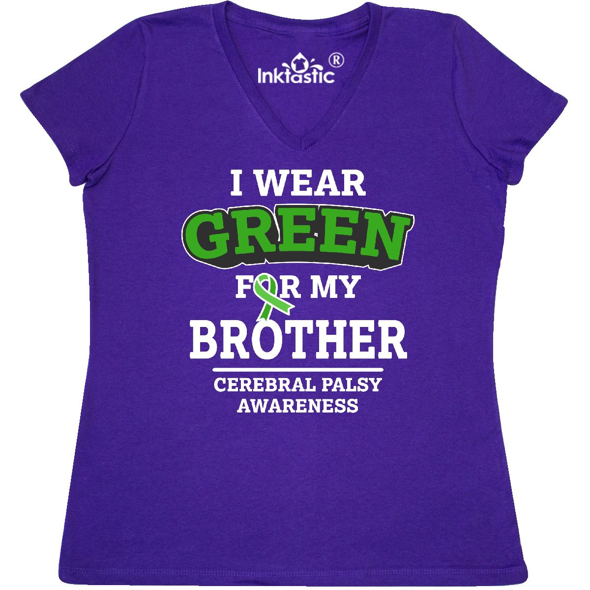 d2a19f26ae6 Details about Inktastic I Wear Green For My Brother For Cerebral Palsy  Women s V-Neck T-Shirt