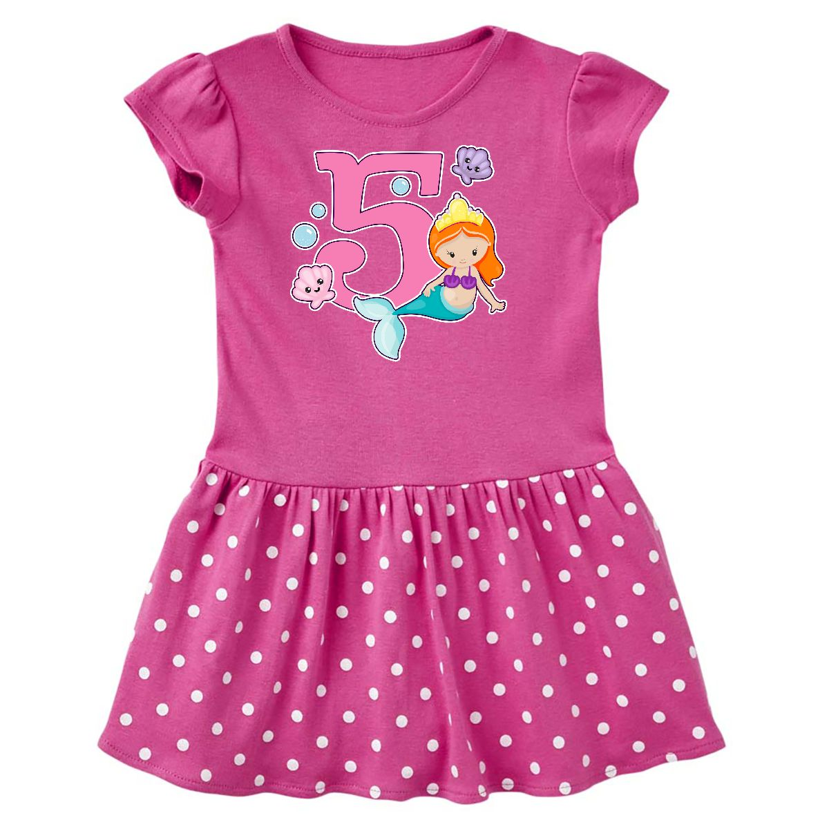 I Am 5 Years Old Birthday With Mermaid Toddler Dress Raspberry Polka Dots 2T