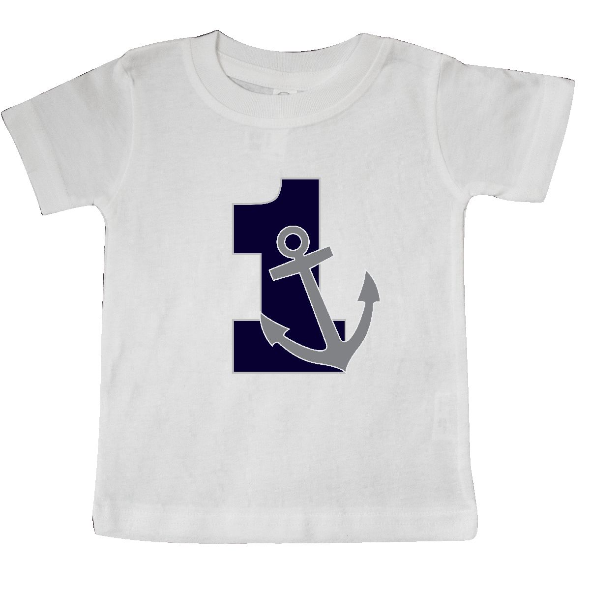 First Birthday Nautical Anchor 1 Year Old Baby T Shirt White 6 Months
