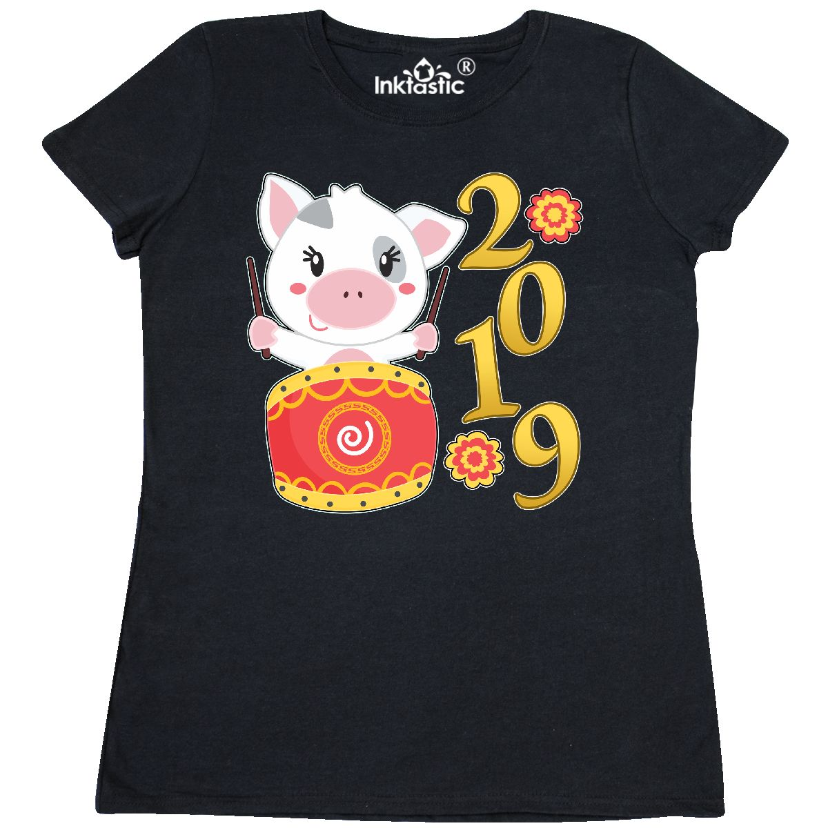 0b48cc7b Inktastic 2019 Year Of The Pig- Cute Drum Women's T-Shirt Years ...