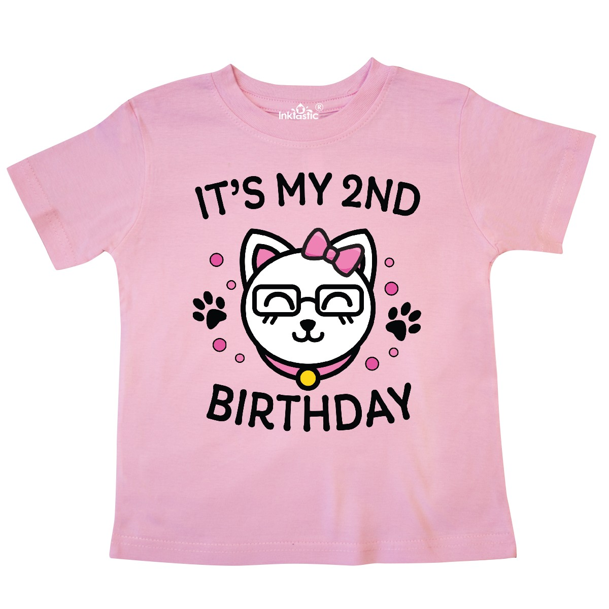 inktastic Its My 2nd Birthday with Cat in Glasses Toddler Long Sleeve T-Shirt