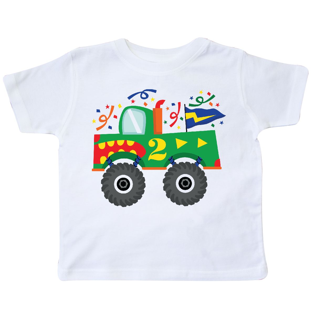 2nd Birthday Monster Truck Toddler T Shirt White 2T