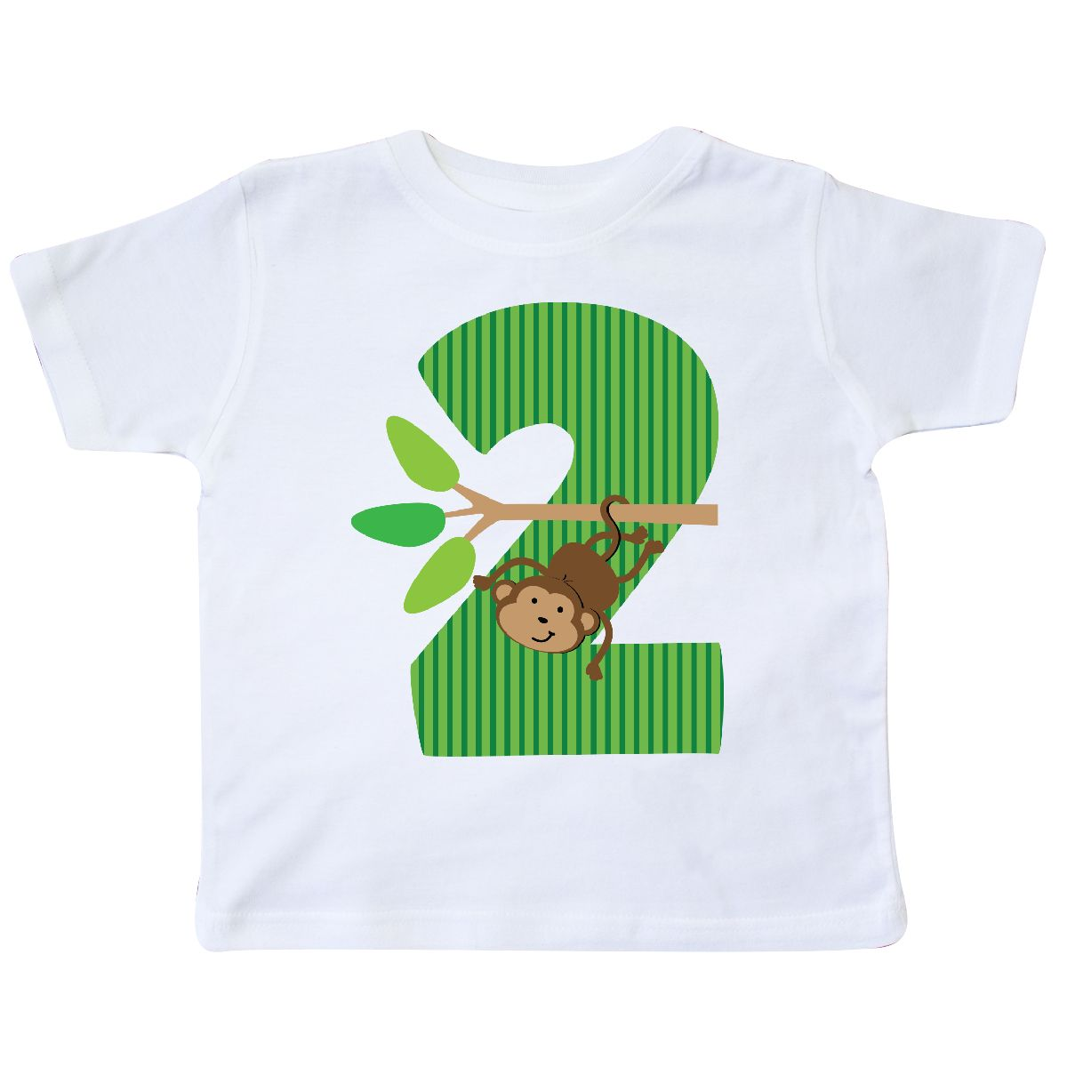 2nd Birthday Jungle Monkey Childs Toddler T Shirt White 2T