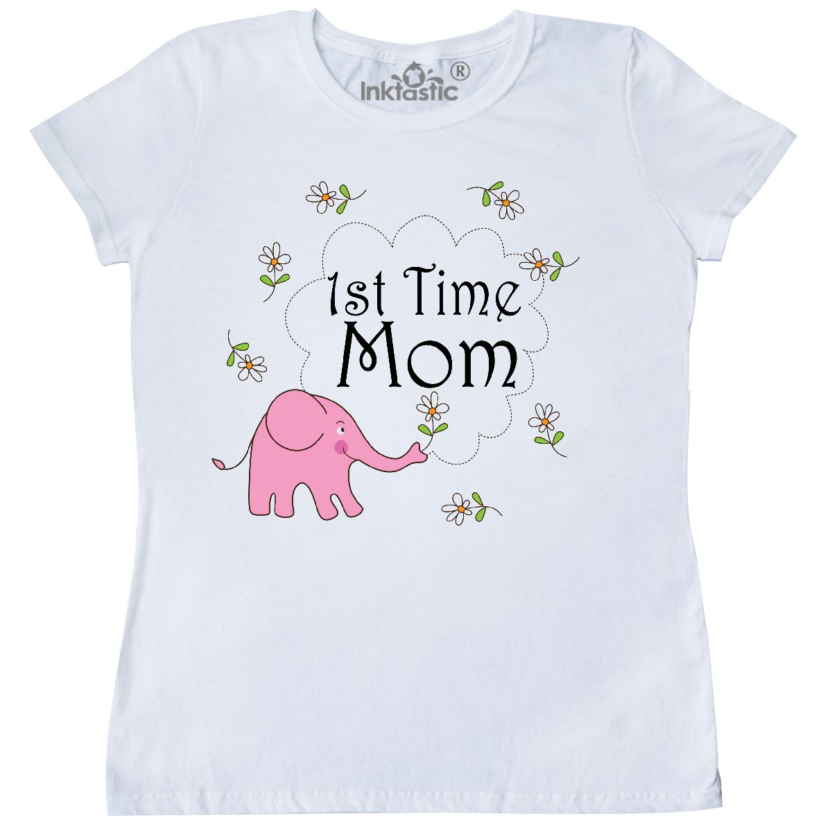 966b6be1bb77 Inktastic First Time Mom Pink Elephant Women s T-Shirt 1st Mother ...