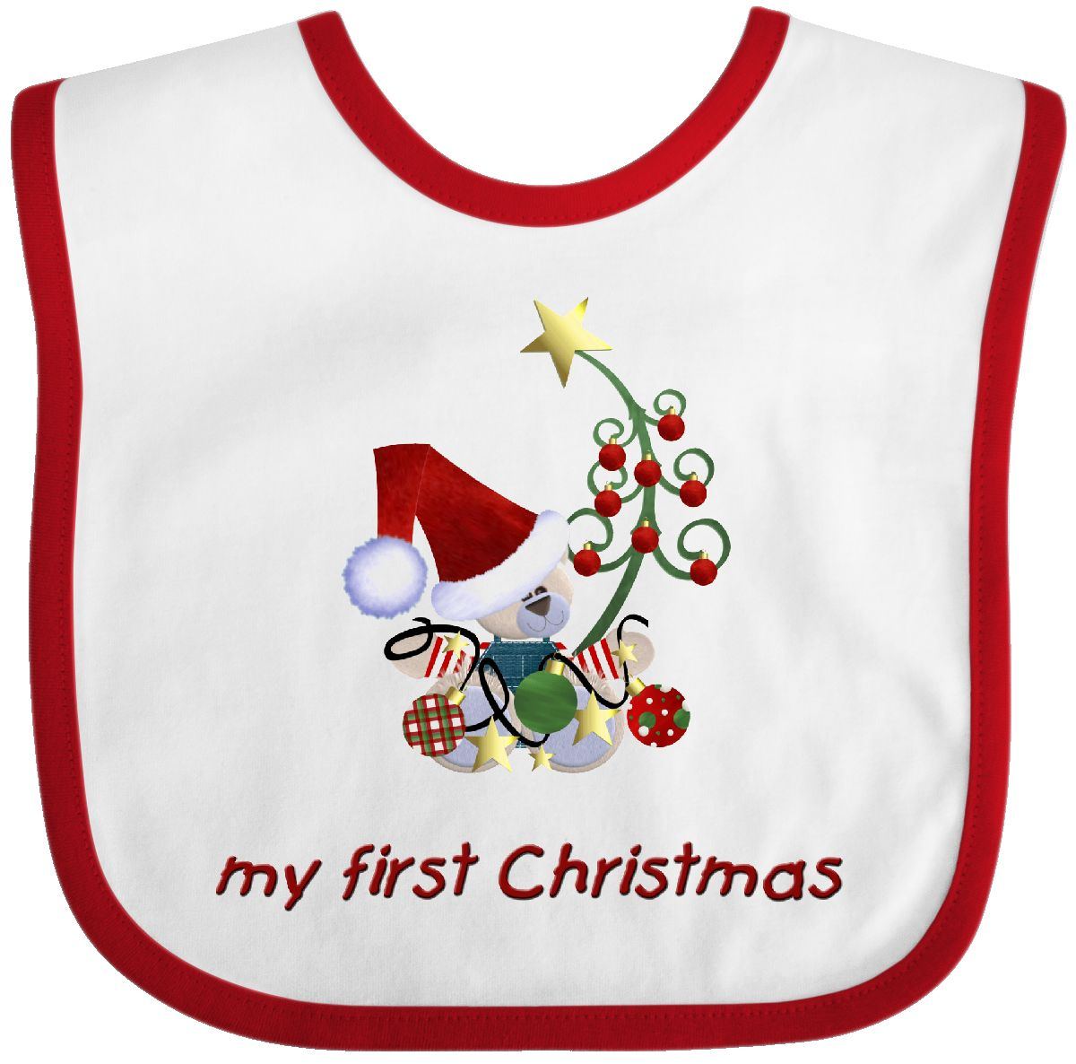 INKtastic My First Christmas Bear Baby Bib Holiday Gift Clothing ...