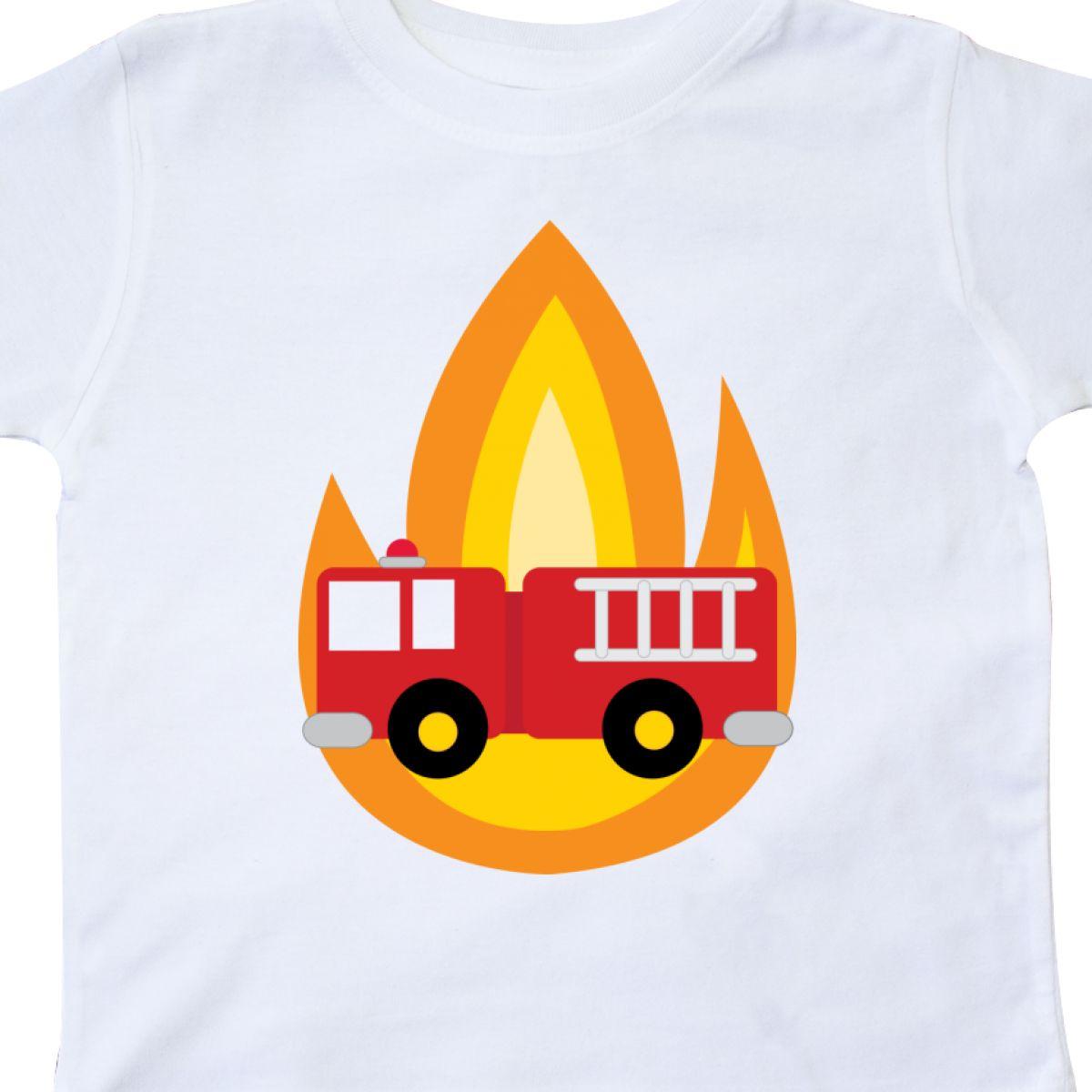 dc915c0f3 Inktastic Fire Truck Firefighter Flames Toddler T-Shirt Engine Kids ...