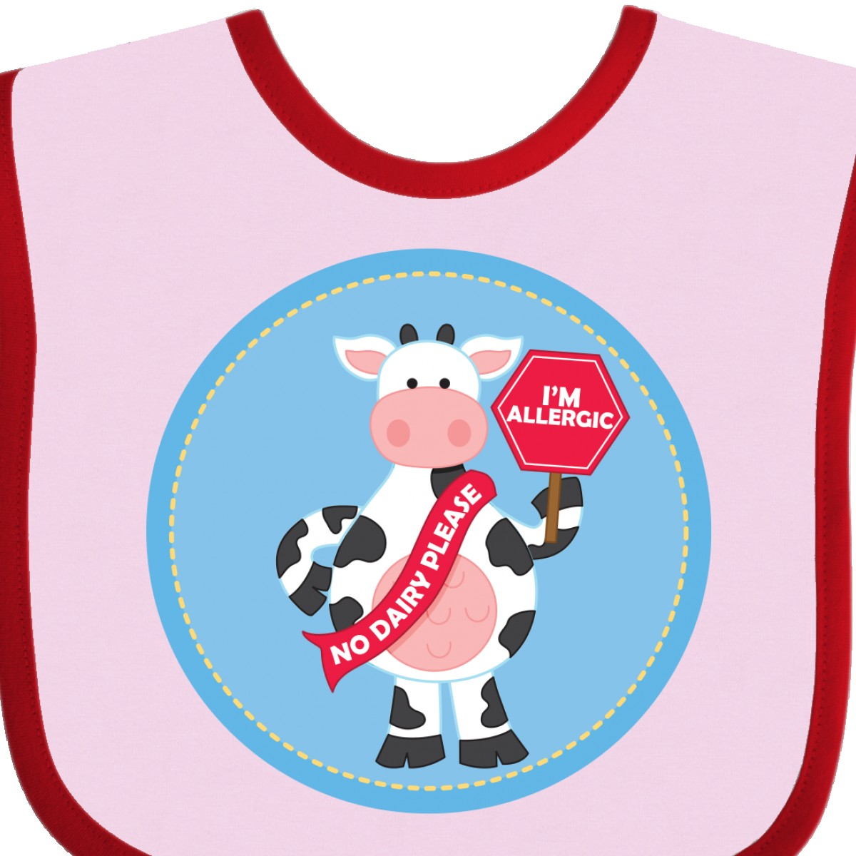 Details about Inktastic Dairy Allergy Cow Baby Bib Milk Food Allergies Im  Allergic No Support