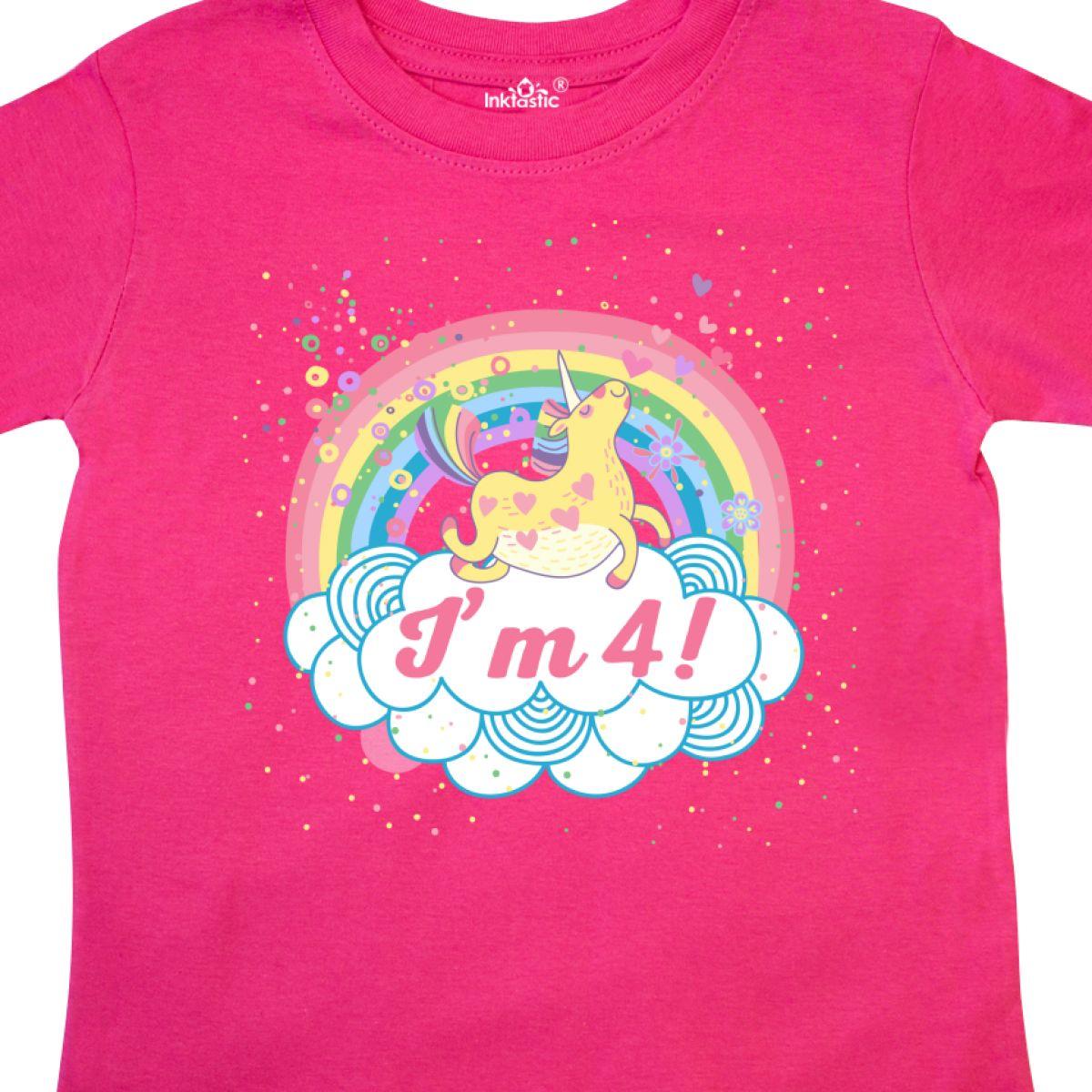 Inktastic 4th Birthday Unicorn Rainbow Cute Girls Toddler