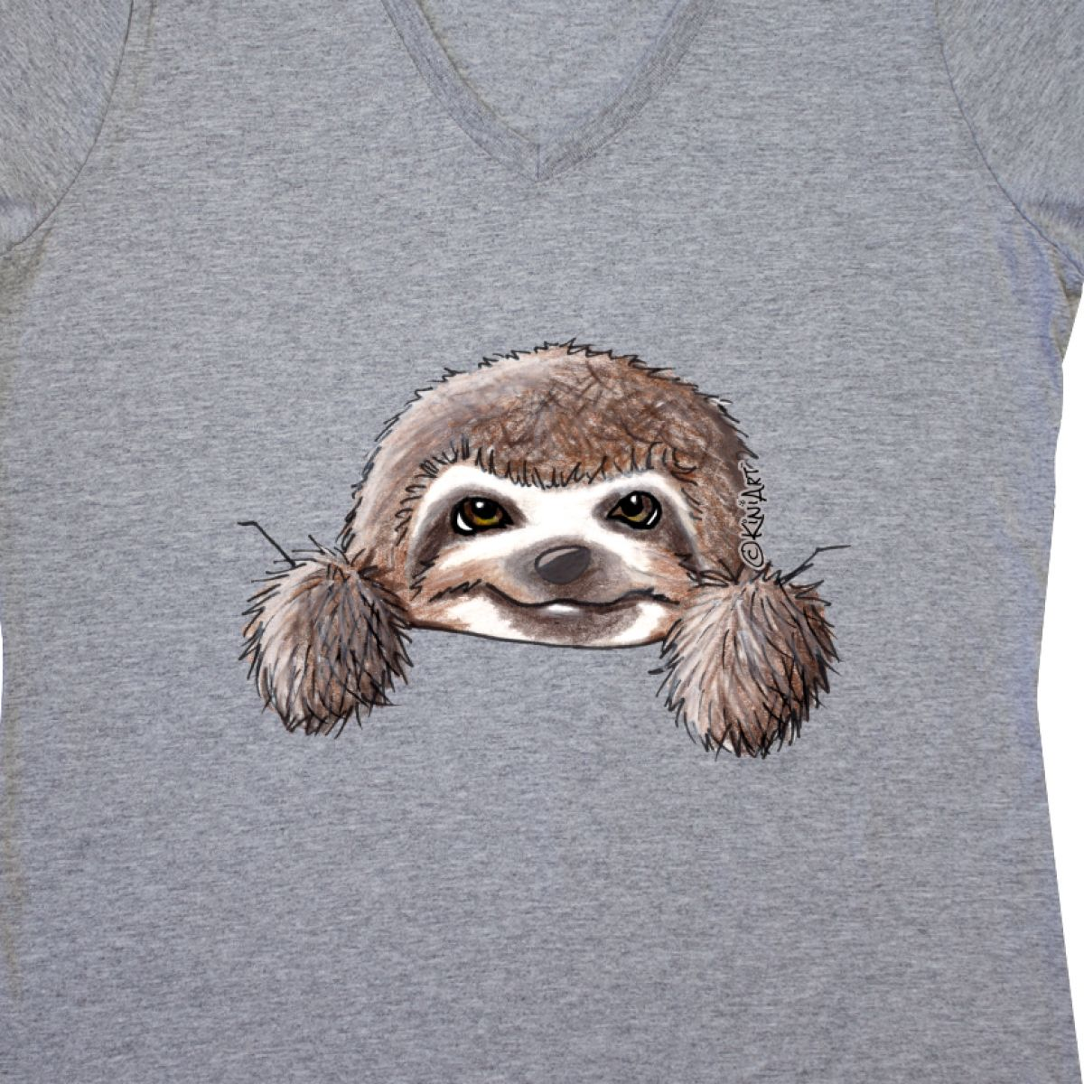 760f1f97080 Inktastic KiniArt Sloth Women s V-Neck T-Shirt - KiniArt Cute ...