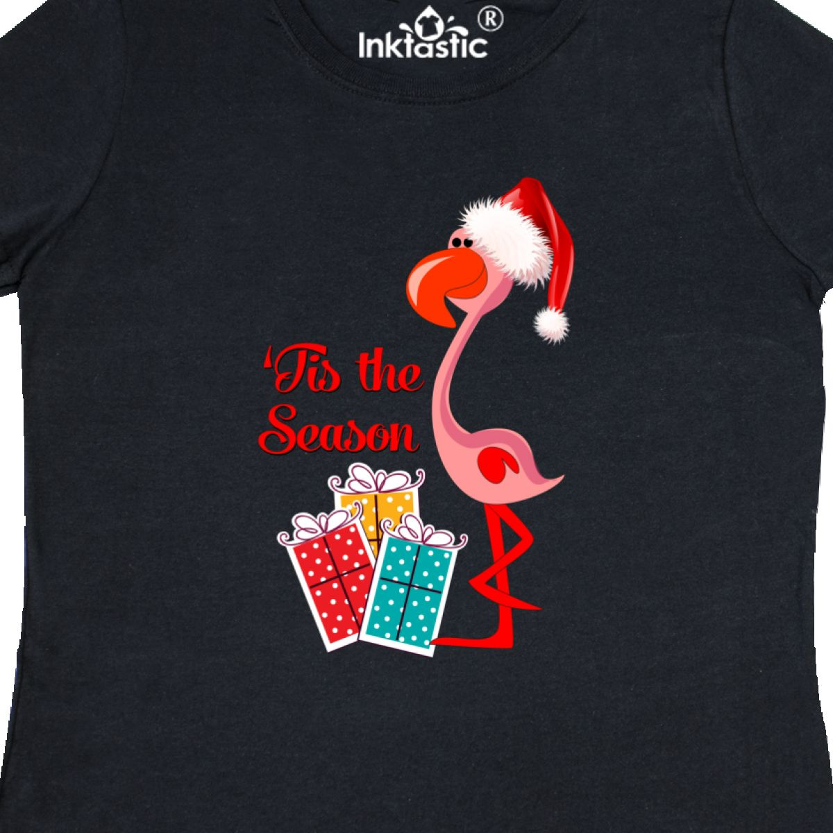 267e0098a50 Inktastic Christmas Flamingo Women s T-Shirt Xmas Santa Merry ...