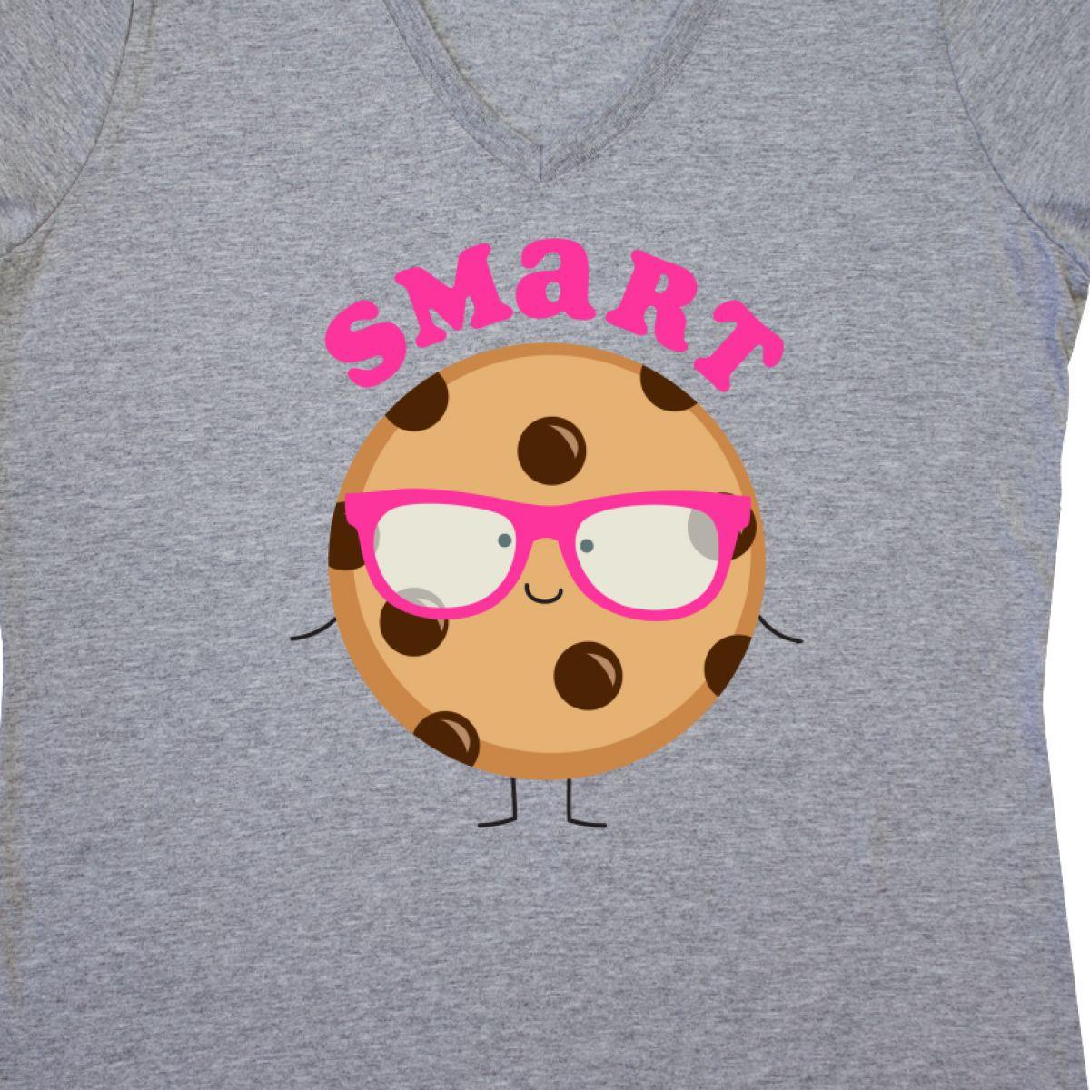 13c760bb42f Inktastic Smart Cookie Women s V-Neck T-Shirt Chocolate Chip Nerd ...