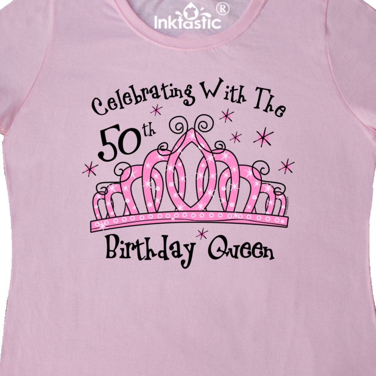 Inktastic-Tiara-50th-Birthday-Queen-CW-Women-039-s-T-Shirt-Celebrating-With-Crown