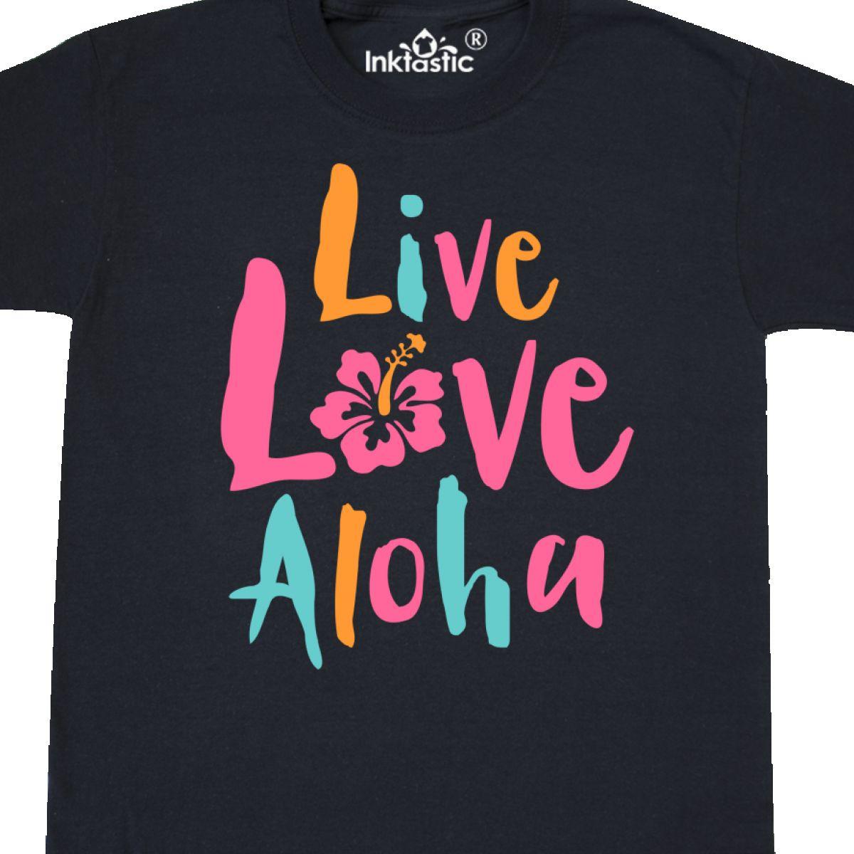6afcf3fae Inktastic Live Love Aloha 2 Youth T-Shirt Hawaii Hawaiian Hibiscus ...