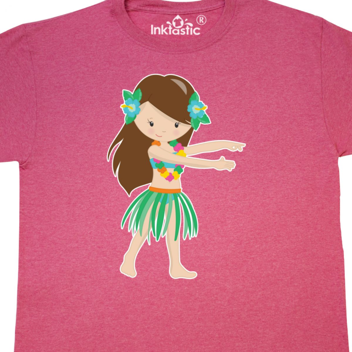 Inktastic-Brown-Haired-Hula-Girl-T-Shirt-Brunette-Adorable-Cute-Vacation-Luau