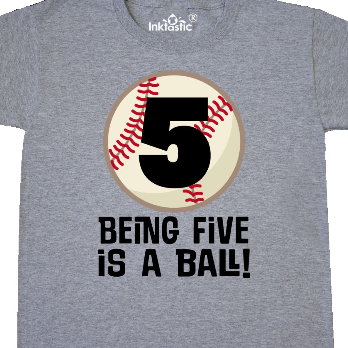 INKtastic 5th Birthday Baseball Boys Sports Youth T Shirt Fifth Five
