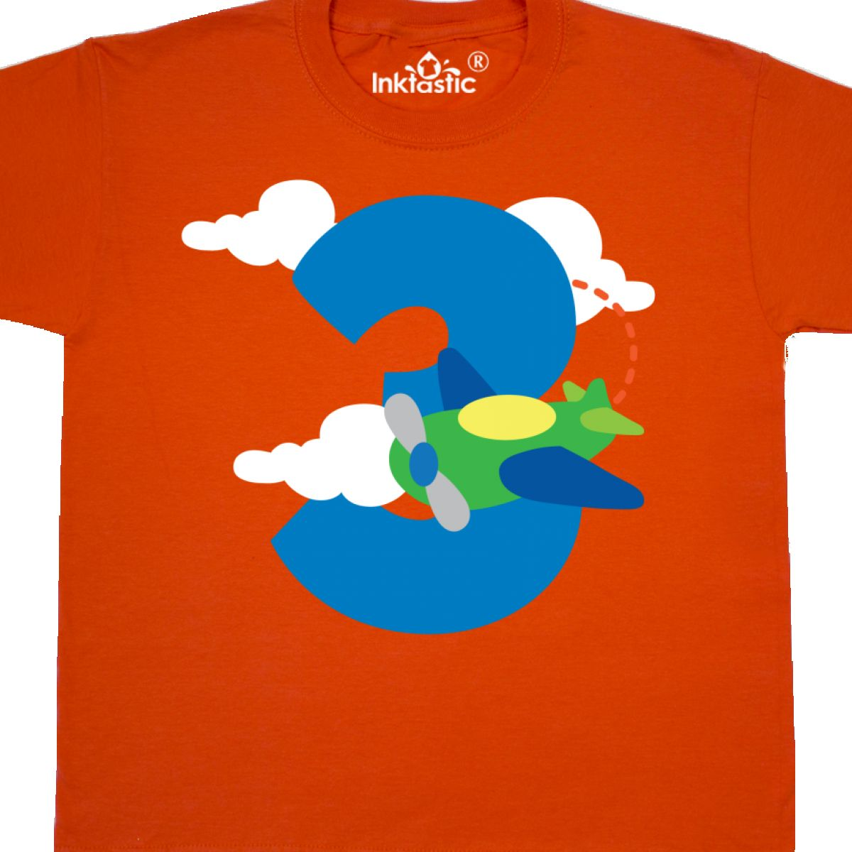 INKtastic 3rd Birthday Airplane Boys Party Photo Youth T Shirt Third
