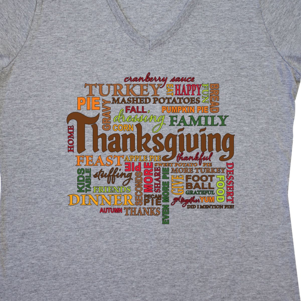 17f662cf2 Inktastic Thanksgiving Word Salad Women's V-Neck T-Shirt Words ...