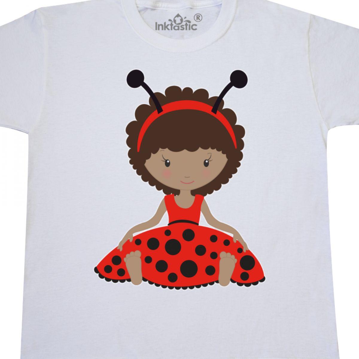 Inktastic-Ethnic-Ladybug-Girl-In-Red-Dress-Youth-T-Shirt-Antennas-Tee-Kids-Child