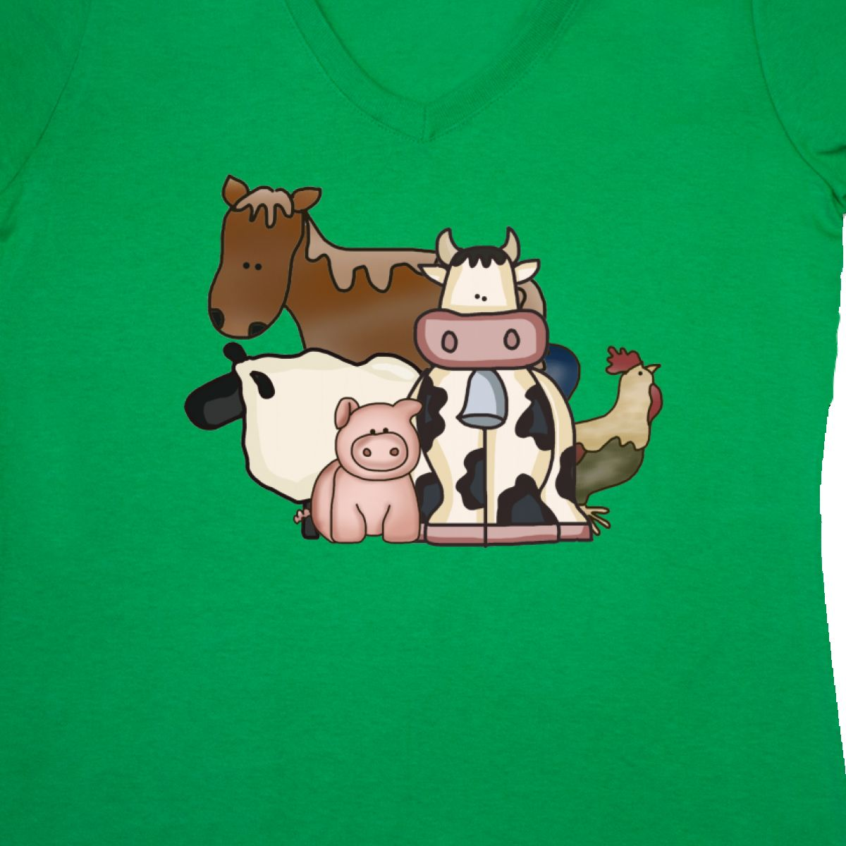c0dc7e6a8d8 Inktastic Critters Women s V-Neck T-Shirt Horse Sheep Cow Chicken ...