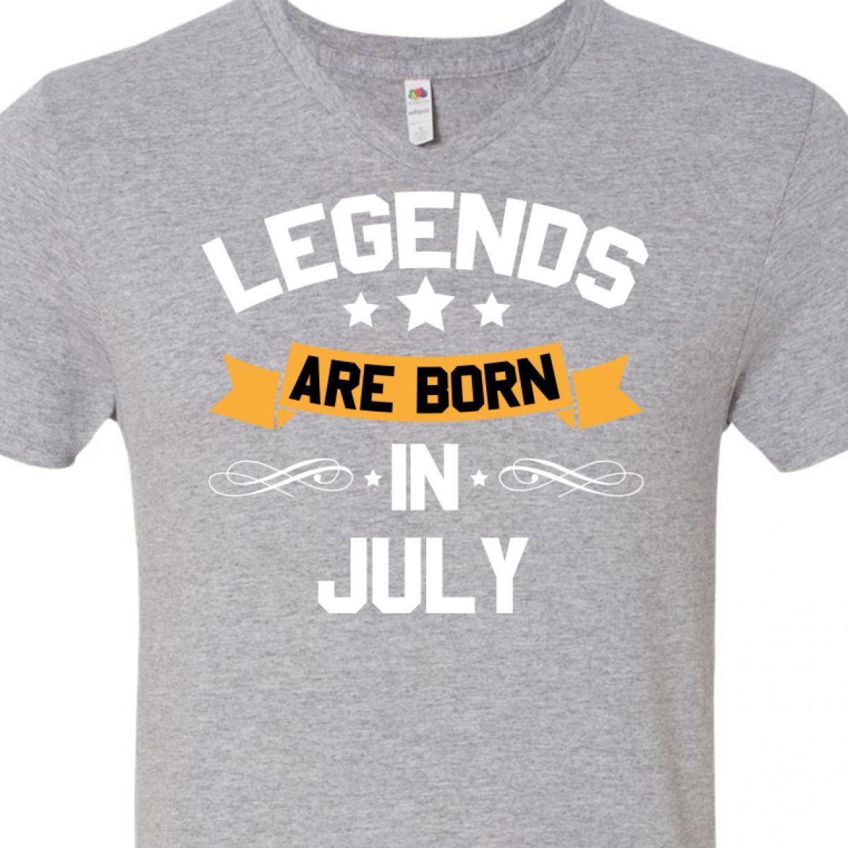 7ea072c6 INKtastic Legends Are Born in July Men's V-neck T-shirt Birthdays ...