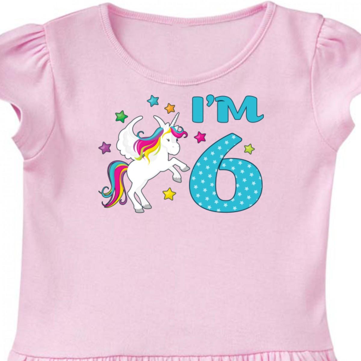 Inktastic I/'m Six Sixth Birthday Youth T-Shirt Birthdays 6th 6 Years Unicorn