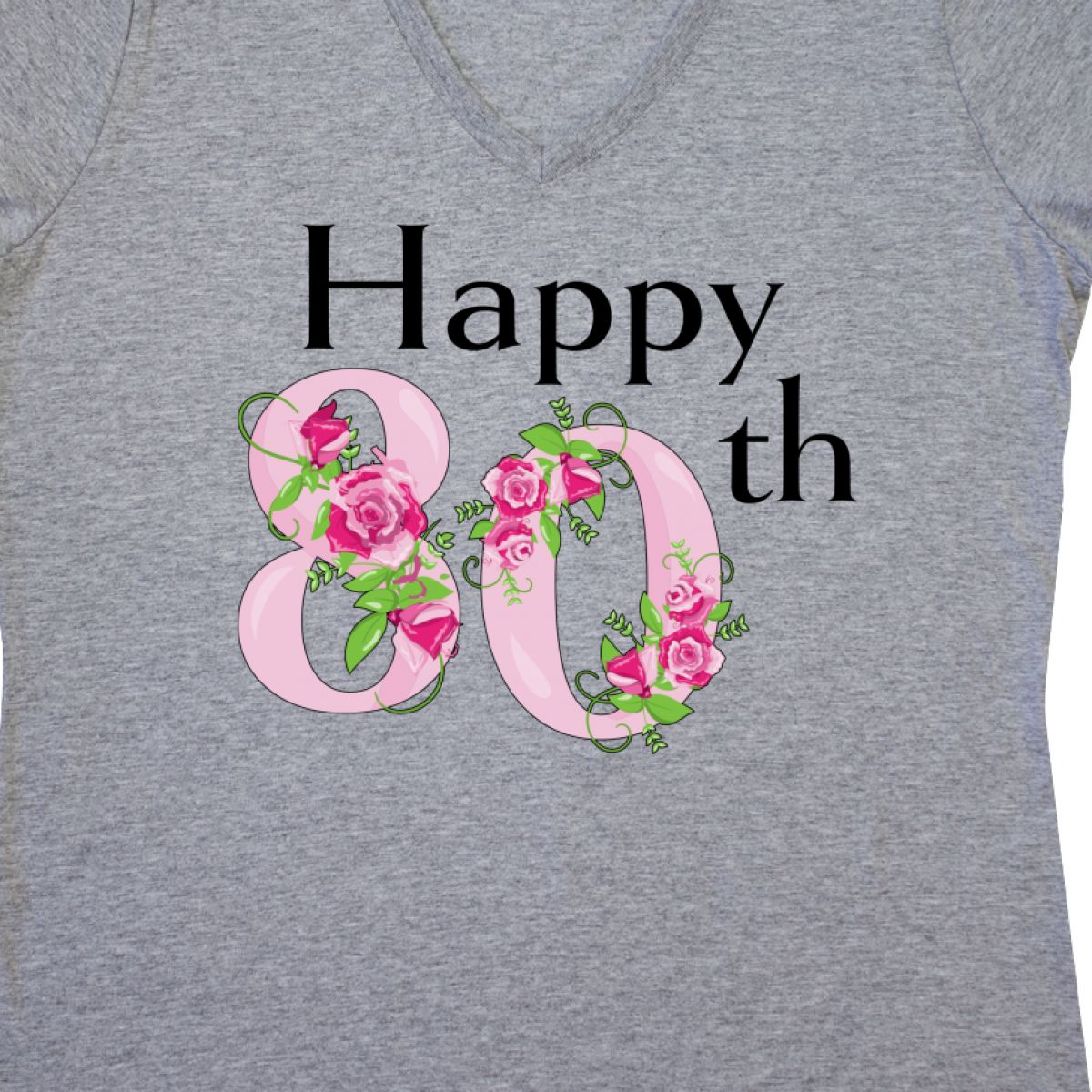 Inktastic Happy 80th Birthday With Roses Women 039
