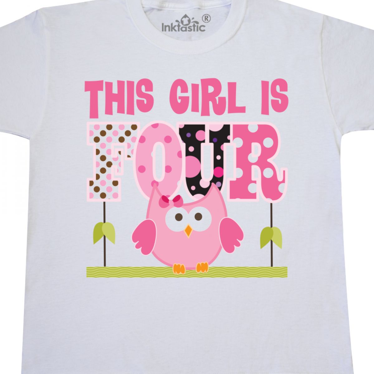 Inktastic 4 Year Old Birthday Owl In Pink